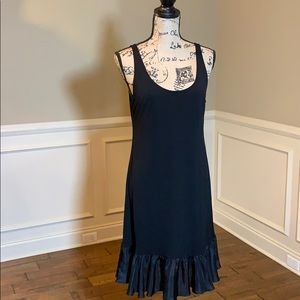 Eileen Fisher Black Slvls 100% Silk Ruffled Dress